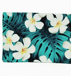 Cosmetic Pouch – Medium – Modern Plumeria Blue