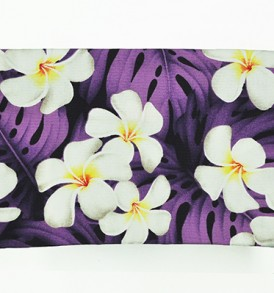 Cosmetic Pouch – Medium – Modern Plumeria Purple