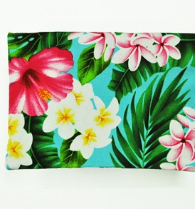 Canvas Coin Purse – Large Hibiscus Plumeria Leaves Blue