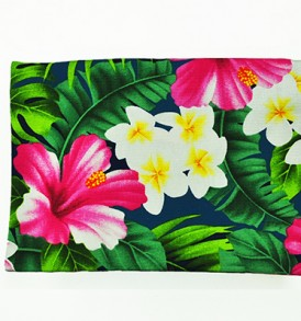 Canvas Coin Purse – Large Hibiscus Plumeria Leaves Navy
