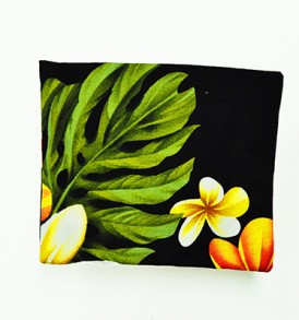 Cosmetic Pouch – Small – Cute Plumeria Black