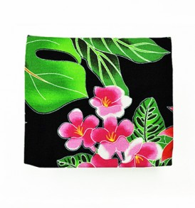 Canvas Coin Purse – Small Hawaiian Garden Black