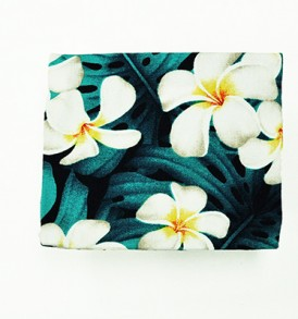 Cosmetic Pouch – Small – Modern Plumeria Blue
