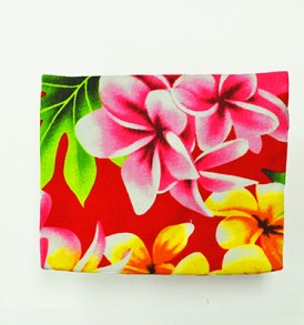 Canvas Coin Purse – Small Plumeria Orchid Red
