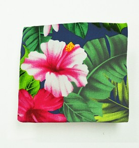 Canvas Coin Purse – Small Hibiscus Plumeria Leaves Navy