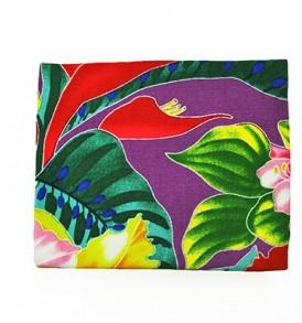 Canvas Coin Purse – Small Tropical Blossom Purple