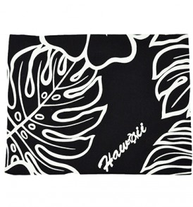 Canvas Zipper Pouch – Large Monstera Lover Black