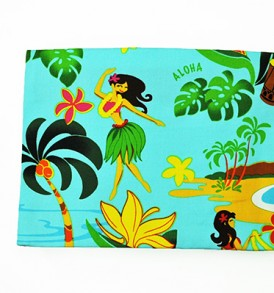 Canvas Zipper Pouch – Large Hawaiian Hula Girl Blue