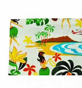 Canvas Zipper Pouch – Large Hawaiian Hula Girl White