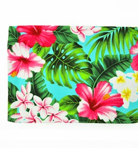 Canvas Zipper Pouch – Large Hibiscus Plumeria Leaves Blue