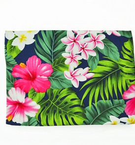 Canvas Zipper Pouch – Large Hibiscus Plumeria Leaves Navy