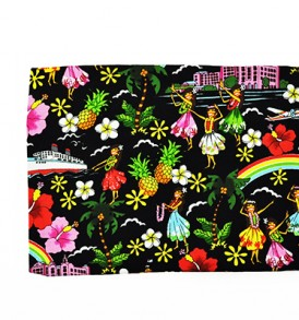 Canvas Zipper Pouch – Large Summer Time Black