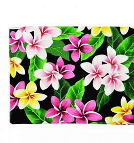 Canvas Zipper Pouch – Large Plumeria Leaves Black