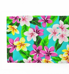 Canvas Zipper Pouch – Large Plumeria Leaves Blue