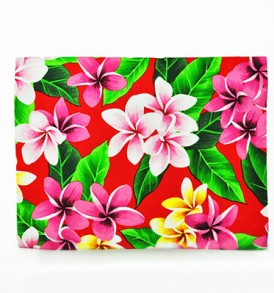 Canvas Zipper Pouch – Large Plumeria Leaves Red