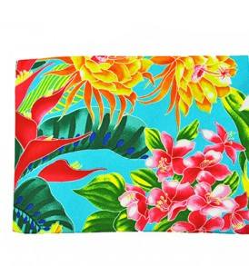 Canvas Zipper Pouch – Large Tropical Blossom Blue