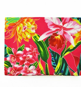 Canvas Zipper Pouch – Large Tropical Blossom Pink