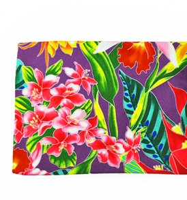 Canvas Zipper Pouch – Large Tropical Blossom Purple