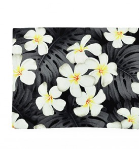 Canvas Zipper Pouch – Large Plumeria Monstera Black