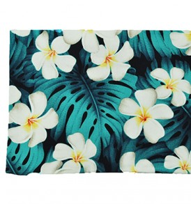 Canvas Zipper Pouch – Large Plumeria Monstera Blue