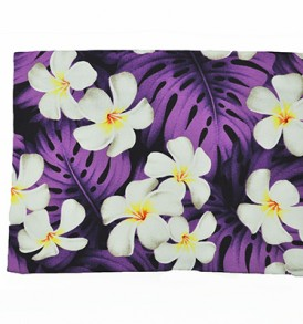 Canvas Zipper Pouch – Large Plumeria Monstera Purple