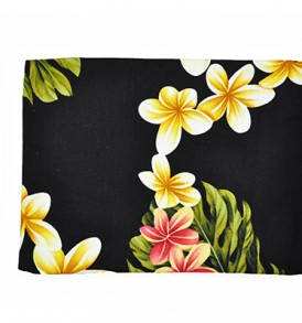 Canvas Zipper Pouch – Large Cute Plumeria Black
