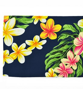 Canvas Zipper Pouch – Large Cute Plumeria Navy