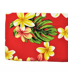 Canvas Zipper Pouch – Large Cute Plumeria Red