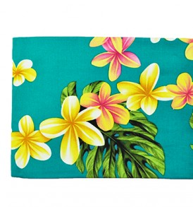 Canvas Zipper Pouch – Large Cute Plumeria Teal