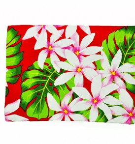 Canvas Zipper Pouch – Large Tiare Lei Red