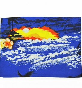 Canvas Zipper Pouch – Large Waikiki Sunset Blue