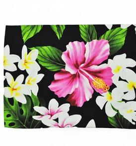 Canvas Zipper Pouch – Large Hibiscus Plumeria Black