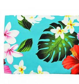 Canvas Zipper Pouch – Large Hibiscus Plumeria Blue