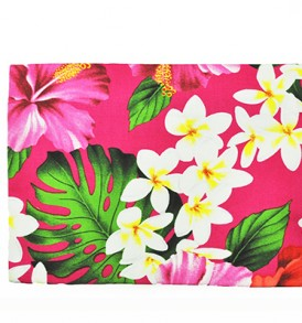 Canvas Zipper Pouch – Large Hibiscus Plumeria Pink