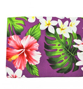 Canvas Zipper Pouch – Large Hibiscus Plumeria Purple