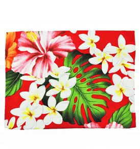 Canvas Zipper Pouch – Large Hibiscus Plumeria Red