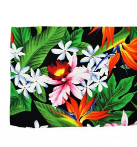Canvas Zipper Pouch – Large Bird of Paradise Leaves Black