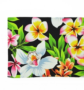 Canvas Zipper Pouch – Large Plumeria Orchid Black
