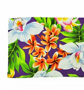 Canvas Zipper Pouch – Large Plumeria Orchid Purple