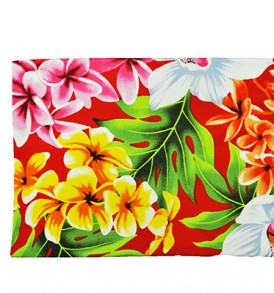 Canvas Zipper Pouch – Large Plumeria Orchid Red
