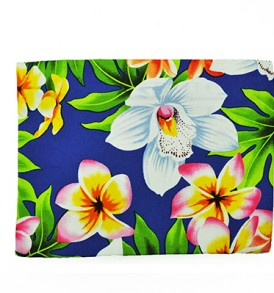 Canvas Zipper Pouch – Large Plumeria Orchid Royal