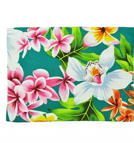 Canvas Zipper Pouch – Large Plumeria Orchid Teal