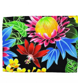 Canvas Zipper Pouch – Large Hawaiian Garden Black