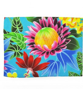 Canvas Zipper Pouch – Large Hawaiian Garden Blue