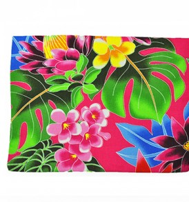 Canvas Zipper Pouch – Large Hawaiian Garden Pink