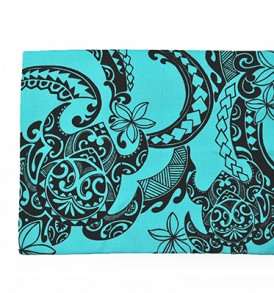 Canvas Zipper Pouch – Large Tribal Tattoo Blue
