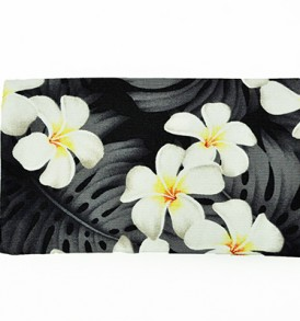 Canvas Zipper Pouch – Small Modern Plumeria Black