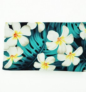 Canvas Zipper Pouch – Small Modern Plumeria Blue