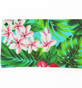 Canvas Zipper Pouch – Small Hibiscus Plumeria Leaves Blue