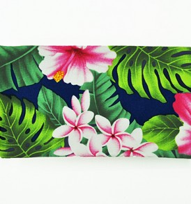 Canvas Zipper Pouch – Small Hibiscus Plumeria Leaves Navy